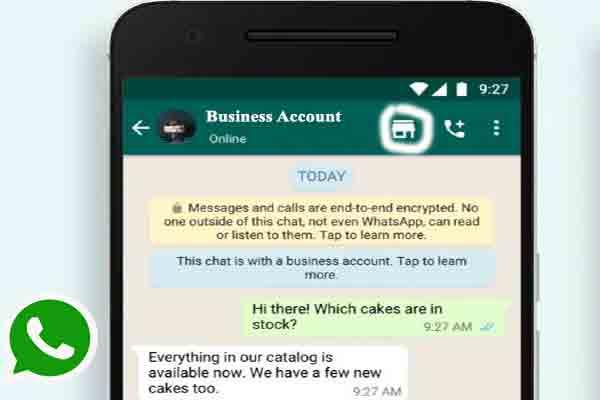 WhatsApp business account shopping button